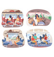 passengers inside various transport means vector image vector image