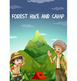 people camping out in forest vector image vector image
