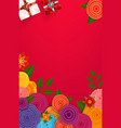 red background with flowers and gift boxes vector image vector image