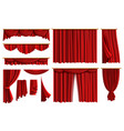red curtains set realistic luxury curtain cornice vector image vector image
