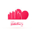red heart and silhouette of atlanta city paper vector image vector image