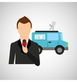 reporter man truck news design vector image