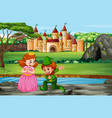 scene with prince and princess at castle vector image vector image