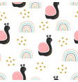 seamless pattern with cute snail and rainbow vector image