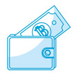 silhouette nice wallet to save bill money vector image