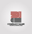 square logo with an elegant line letter p vector image vector image