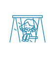 swinging on a swing linear icon concept swinging vector image vector image