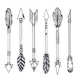 tribal indian arrow set ethnic hand drawn vector image vector image