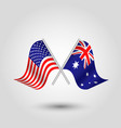 two crossed american and australian flags vector image vector image