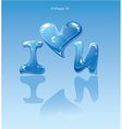 water drops - heart and phrase i love you vector image
