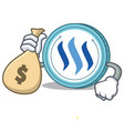 with money bag steem coin character cartoon vector image vector image