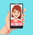 woman selfie beautiful girl taking self photo vector image