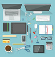 workspace elements top view set vector image