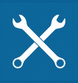 wrench white outline icon vector image vector image
