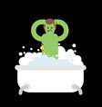 zombie in bath isolated green dead man washes for vector image vector image