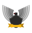 Black Eagle with white wings Logo or emblem fo vector image
