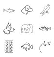 animal husbandry icons set outline style vector image vector image