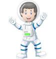 astronaut in white blue suit uniform cartoon vector image vector image