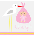 bashower card with stork its a girl vector image vector image