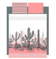 bedding with mexican cactuses and mountains vector image vector image