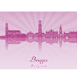 Bruges skyline in purple radiant orchid vector image vector image