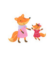 cartoon fox family mom and her little baby forest vector image vector image