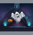 cartoon ghost with pumpkin vector image vector image