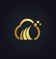cloud digital technology gold logo vector image vector image