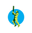Cricket Player Batsman Batting Circle Retro vector image vector image