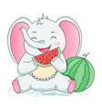 cute aelephant eating watermelon children vector image vector image