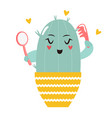 cute combing cartoon cactus vector image vector image