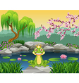 Cute little frog sitting on the rock vector image