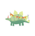 cute stegosaurus dinosaur in party hat with party vector image vector image