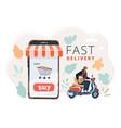 delivery man ride bike get order vector image vector image