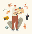 delivery man volunteer or courier character in vector image