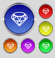 Diamond Icon sign Round symbol on bright colourful vector image