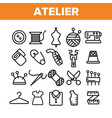 fashion atelier and sewing linear icons set vector image