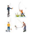 fisherman with fishing rod and fish sketch vector image vector image