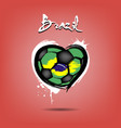 flag of brazil in the form of a heart vector image