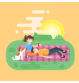 flat style of young happy couple having picnic in vector image vector image