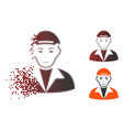 fractured dot halftone guy icon vector image vector image