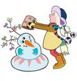 girl building a snowman vector image vector image