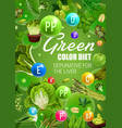 green fruits and vegetables detox diet vegan food vector image vector image