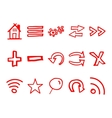 Hand drawn web icons and logo arrows internet vector image vector image
