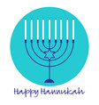 hannukah menorah graphic on turquoise blue circle vector image