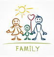 happy family stick figure vector image