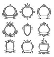 heraldic baroque frame set on white background vector image