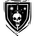 heraldic shield sword and skull vector image