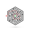 hexagon maze with way to center problem business vector image vector image