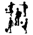 junior soccer player silhouette 02 vector image vector image